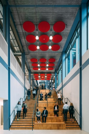 LSE Centre Building Wooden staircase with red acoustic baffles