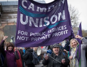 Many unions joined the protest on Saturday