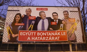 George Soros and rival candidates holding bolt cutters on election poster