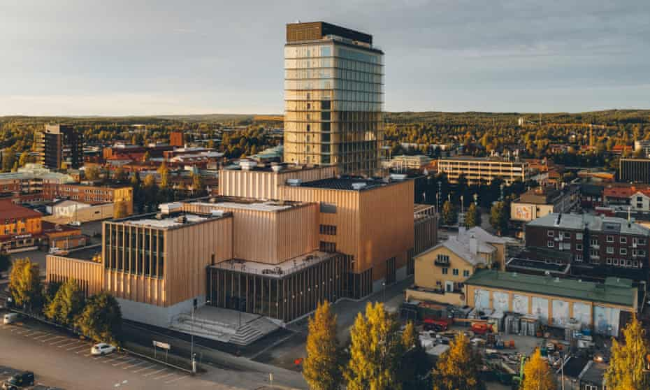 Stronger than steel … the Sara Cultural Centre topped with the Wood Hotel.