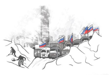 Travels with my pens … city snowscape by Lomasko.