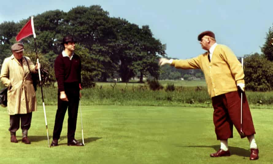 Tee time reads? James Bond (Sean Connery) and Goldfinger (Gert Frobe) play a round in the 1964 film of Ian Fleming's novel.