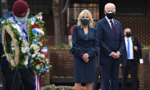 President-elect Joe Biden and his wife Jill Biden pay their respects during a Veterans Day stop at the Korean War Memorial Park in Philadelphia.