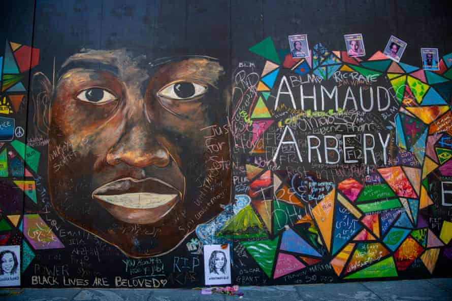 A mural for Ahmaud Arbery is seen near the justice center and federal courthouse in Portland.