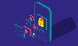 an illustration of a phone with padlocks and various symbols to denote privacy settings and a users personal life