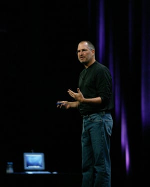 Steve Jobs gives his keynote address on the opening day of Apple Expo in Paris in 2003