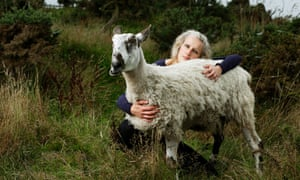 Animal hospice owner Alexis Fleming with Gimli the sheep
