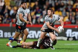 Blake Green of the Warriors charges forward during the round 11 NRL match between the New Zealand Warriors and the Brisbane Broncos at Mt Smart Stadium in Auckland, New Zealand.