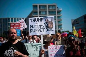 Protesters take part in the Helsinki against Trump and Putin demonstration on the sidelines of the meeting