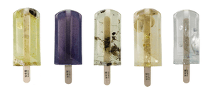 """A selection of popsicles made from polluted water by three design students from the National Taiwan University of the Arts. Water was sourced from 100 different polluted sources around Taiwan for the project, 100%純污水製冰所 (""""Polluted Water Popsicles"""")."""