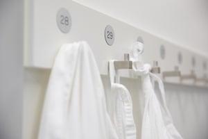 Laboratory coats in the laboratory.