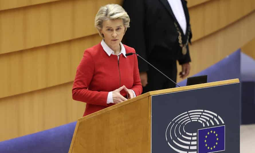 European commission president Ursula von der Leyen speaks during the debate on EU-UK trade and cooperation agreement