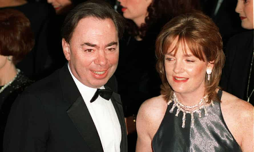 """Andrew Lloyd Webber, who wrote the music for """"Evita,"""" arrives at the film's premiere with his wife Pamela in December 1996 in Los Angeles."""