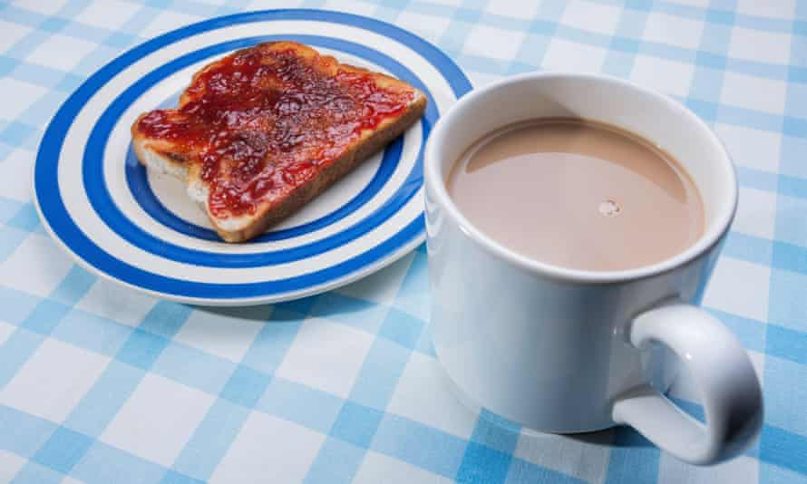 Toast and jam with tea