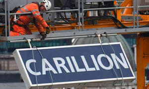 A Carillion sign being taken down