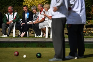 Southampton, England: Theresa May visits Atherley bowling club during her election campaign