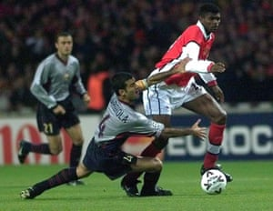 Nwankwo Kanu is fouled by Barcelona's Pep Guardiola and the Spanish side won their Champions League match at Wembley in 1999.