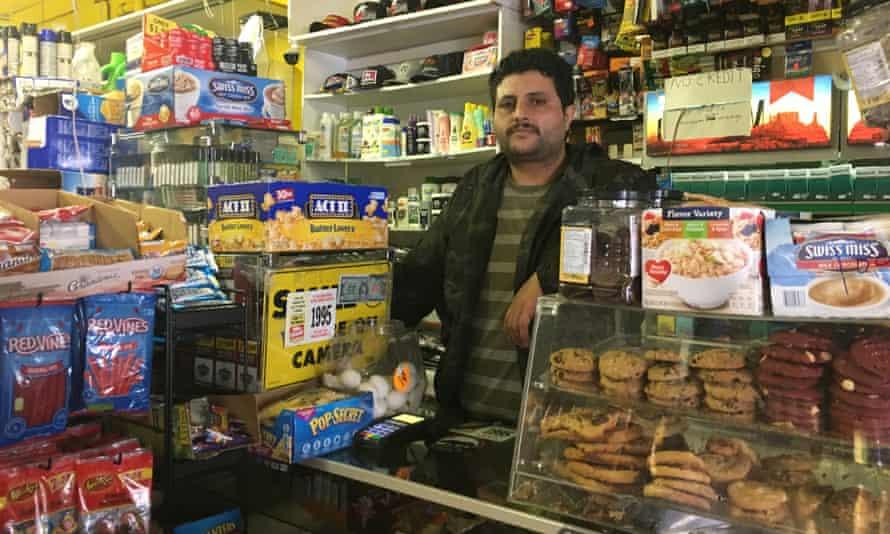 Omar Algahim works at a corner store in San Francisco's Tenderloin.