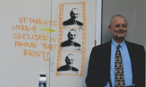 VF Perkins standing in front of the graffiti that appeared at the University of Warwick in 2006