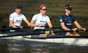 From left: Maxie Scheske, Anastasia Chitty and Shelly Pearson of the Oxford Women's crew in action during a training session on the river Thames.