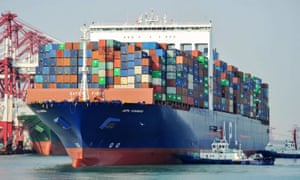 A US cargo ship berthing at a port in Qingdao in China's eastern Shandong province.