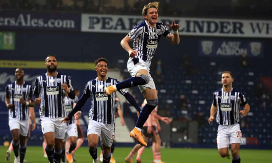 Conor Gallagher jumps for joy after scoring West Bromwich Albion's winner against Sheffield United  in the 13th minute.