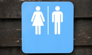 A sign  for men and women's toilets