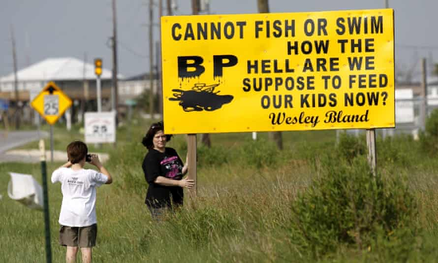 One of many signs that appeared on Grand Isle in 2010 chastising BP for the environmental damage caused by Deep Water Horizon oil rig explosion.