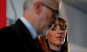 Jeremy Corbyn and Angela Rayner at the lifelong learning launch in Blackpool.