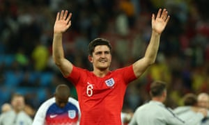 Harry Maguire celebrates England's last-16 win over Colombia