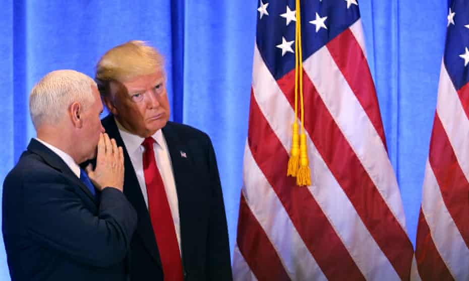 Donald Trump and Mike Pence at a news conference at Trump Tower on Thursday.
