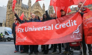 Jeremy Corbyn attends a Unite protest against universal credit in Westminster last month.