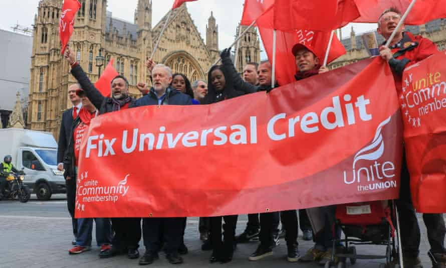 A protest over universal credit in November 2017
