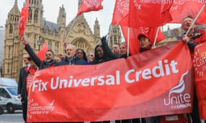 Jeremy Corbyn attends a protest over universal credit, which the National Audit Office concludes is is too complex and would cost too much to halt at this stage.