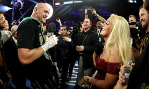 Tyson Fury sings to his wife, Paris, following Saturday night's victory