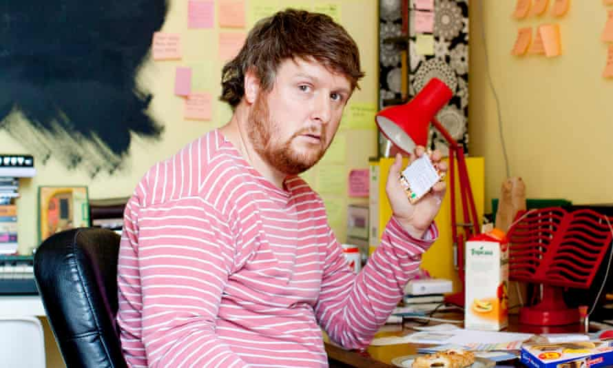 The clutter of comedy … Tim Key in his office at home.