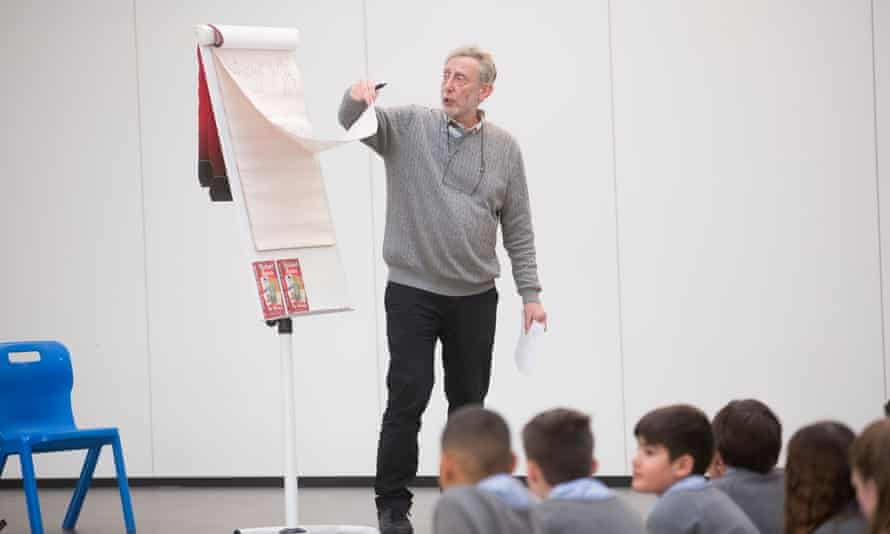 Michael Rosen teaching a workshop last month with Year 3 students at Trumpington Community College.