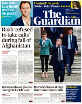 Guardian front page, Friday 20 August 2021