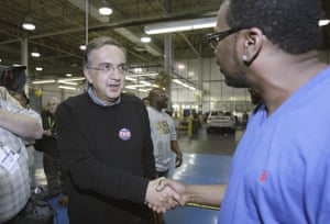 Marchionne meeting Chrysler workers at the Sterling Heights Assembly Plant in Michigan.