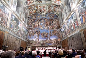 Michelangelo's frescoes soared over the historic event.