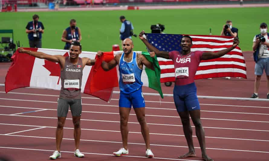 The Tokyo Olympic men's 100m medallists: Andre De Grasse, Marcell Jacobs and Fred Kerley.
