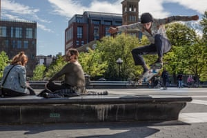 Mike Eggleton ollies over a bench in Washington Square Park.