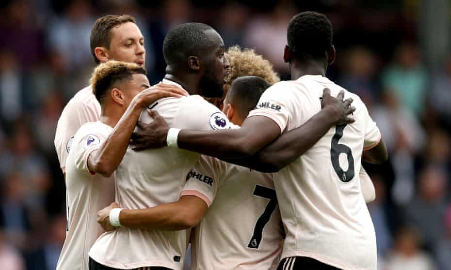 Romelu Lukaku celebrates his opening goal with his Manchester United team-mates.