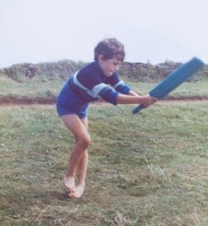 Nicky playing cricket