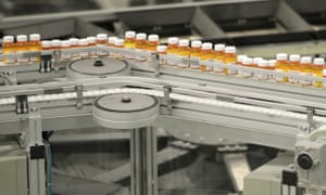 Medicines on a conveyor belt