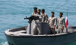 Iranian soldiers in the Strait of Hormuz.