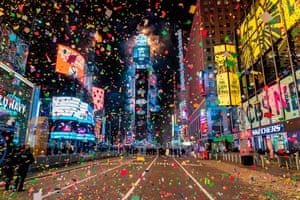 Confetti showers a quiet Times Square in New York