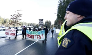 Supporters of the indigenous group that opposes construction of the Coastal GasLink pipeline protest in Surrey, British Columbia on 16 January 2020.