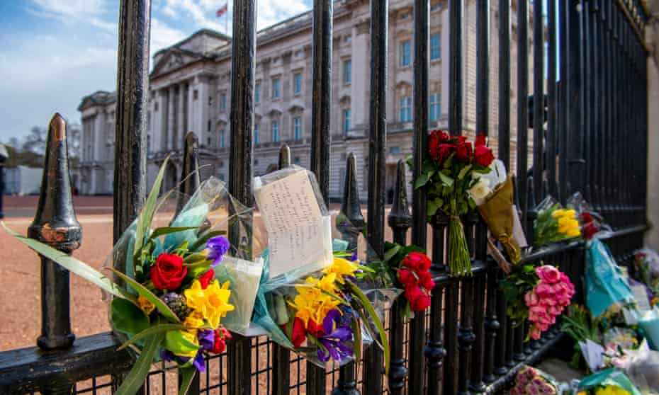 Floral tributes to Prince Philip outside Buckingham Palace