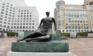 Henry Moore's Draped Seated Woman at Cabot Square in Canary Wharf.